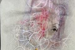 De la serie MACROME  Sisal,foto digitalizada, lápiz, lapiz color. 30 x40 sobre papel, pastel
