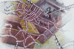 De la serie MACROME  Valija,foto digitalizada, lápiz, lapiz color. 30 x40 sobre papel, pastel
